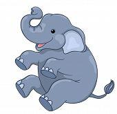 image of animated cartoon  - Happy elephant sitting - JPG