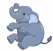 stock photo of animated cartoon  - Happy elephant sitting - JPG