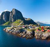 foto of lofoten  - Scenic town of Reine by the fjord on Lofoten islands in Norway on sunny summer day - JPG
