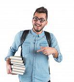 stock photo of nerds  - Boy nerd studying books for an exam - JPG