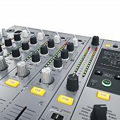 stock photo of mixer  - DJ Mixer controls - JPG