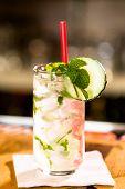 stock photo of mojito  - Mint Mojito with garnishes at the bar - JPG