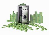 stock photo of billion  - Steel strongbox surrounded with money - JPG