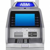 foto of automatic teller machine  - Bank terminal modern style on a white background - JPG