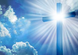 pic of christianity  - Christian cross with bright sun and clouds background - JPG
