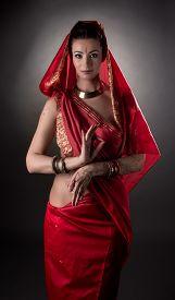 picture of mehndi  - Image of sensual East woman dressed in sari - JPG