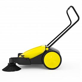 image of sweeper  - Sweeper with a long handle on a white isolated background - JPG