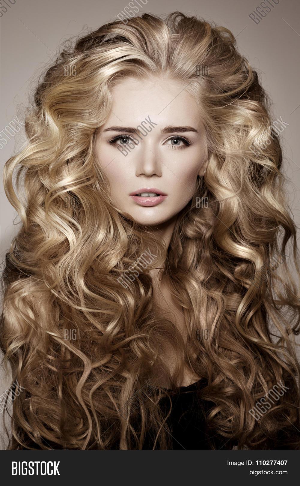Model Blonde Long Hair Waves Curls Image Photo Bigstock - Haircut girl model