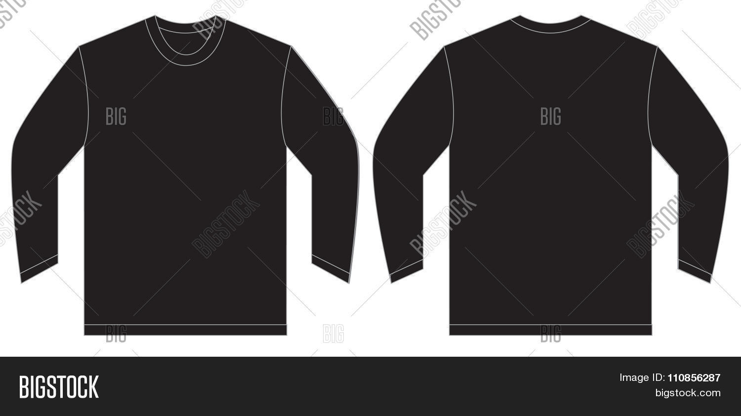 Design t shirt long sleeve - Black Long Sleeve T Shirt Design Template