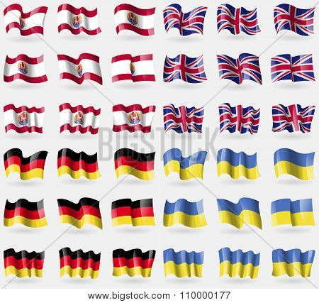 French Polynesia, United Kingdom, Germany, Ukraine. Set Of 36 Flags Of The Countries Of The World.