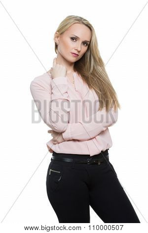 girl in pants and blous.  Isolated on white background. body language. gesture lies. touch to differ