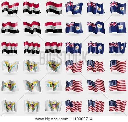 Syria, Anguilla, Virginislandsus, Usa. Set Of 36 Flags Of The Countries Of The World.