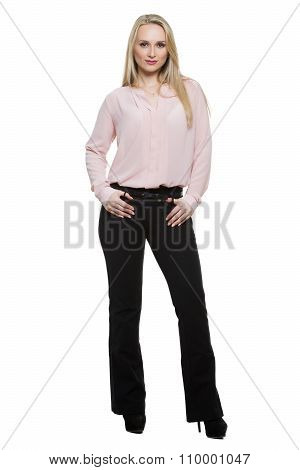 girl in pants and blous.  Isolated on white background. body language. legs wide apart. Women's pree