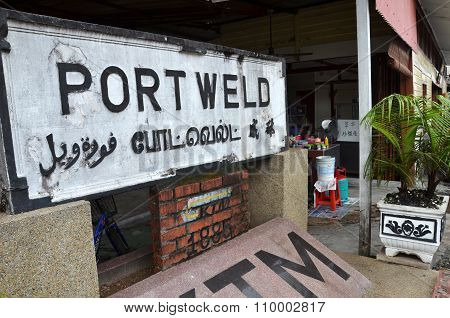 Port Weld Sign Located In Kuala Sepetang. Port Weld Is The First Railway In Malaysia