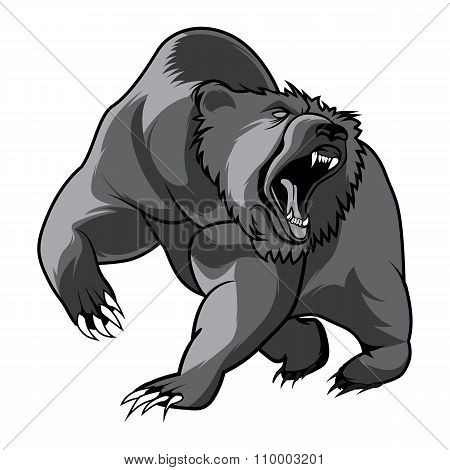 walking bear animal head black and white vector emblem