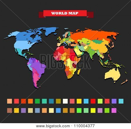 Color world map template