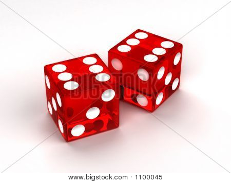 Two Red Glass Dices