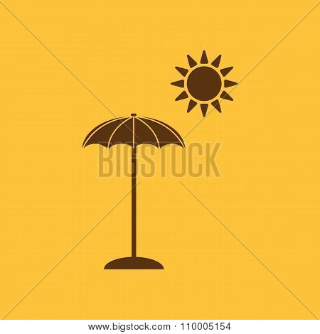 The parasol icon. Vacation symbol. Flat