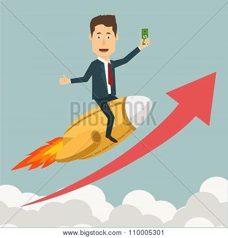 Vector flat illustration of a businessman flying on jet rocket