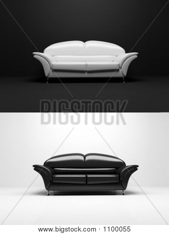 Black And White Sofa Monochrome Object 3D
