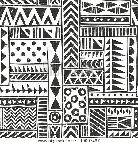 Vector seamless tribal pattern. Seamless background with different geometric shapes. Hand drawn illu