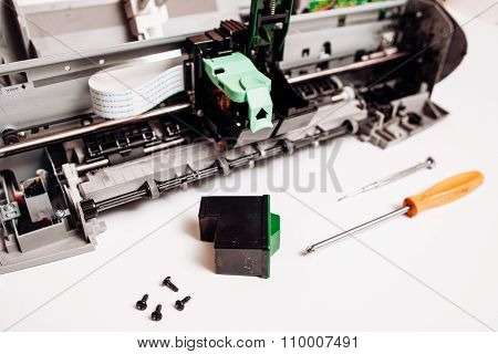 Broken Ink Jet Printer Isolated On White Background