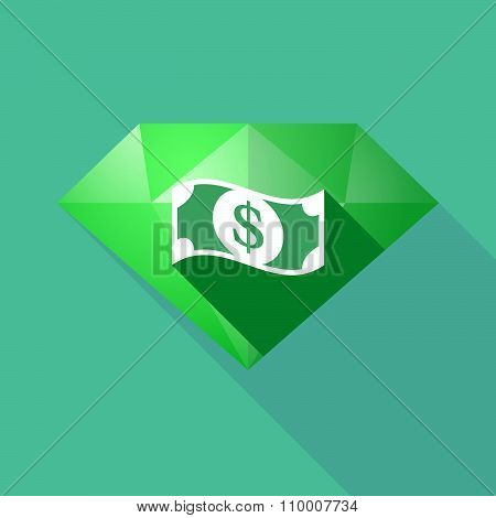 Long Shadow Diamond Icon With A Dollar Bank Note