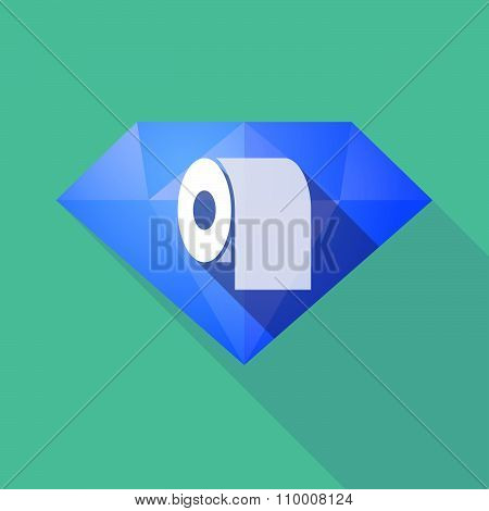 Long Shadow Diamond Icon With A Toilet Paper Roll