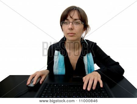 Young Business Woman at Computer