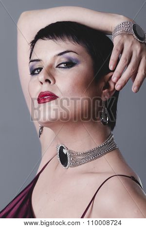 party, dancer flapper with short black hair and jewelry