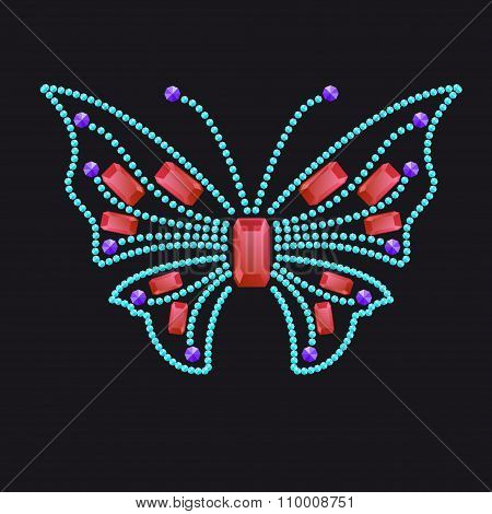 Butterfly From Different Colored Gems