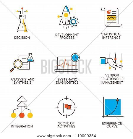 Vector Set Of Icons Related To Career Progress And Business Management. Infographics Design Elements