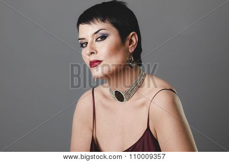sexy girl with jewelry and style of the 20s