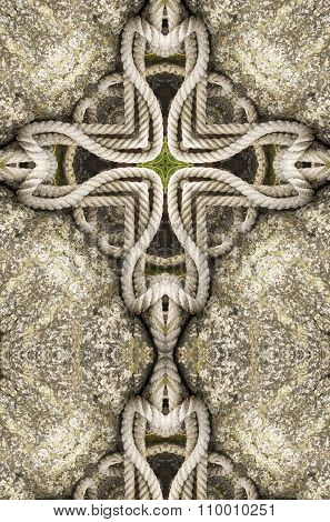 kaleidoscope cross: rope on stone