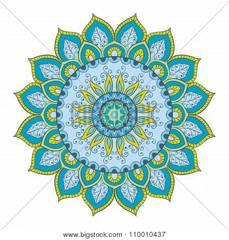 Mandala. Hand-drawn Highly Detailed Round Elements.