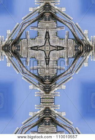 kaleidoscope cross: wood fence
