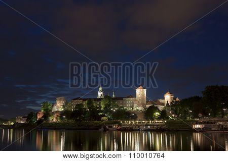Poland, Krakow, Wawel Royal Castle Lit-up