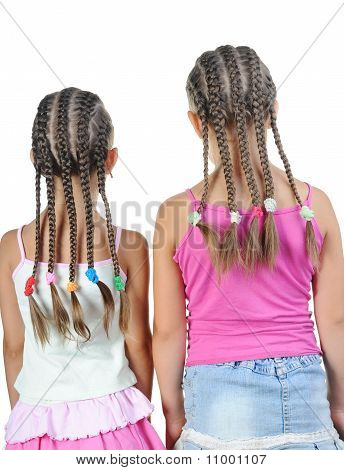 Two girl with pigtails.