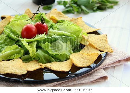 Mexican tortilla chips with lettuce leaves