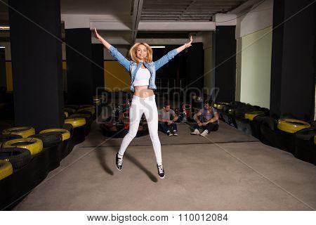 Happy Girl Win Speed Karting Race