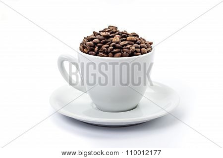 White coffee cup with saucer