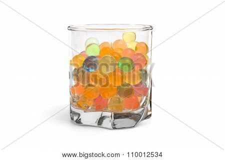 Colored Gel Balls In A Glass