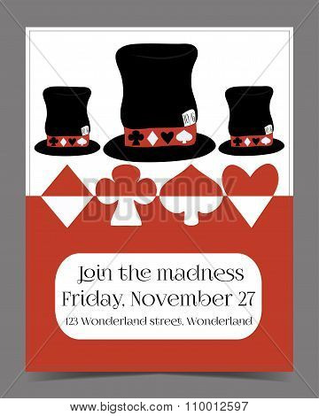 Invitation card - Hatter Hat from Wonderland.