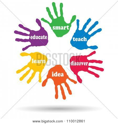Concept or conceptual circle of colorful hand print word cloud text made by children isolated, white background