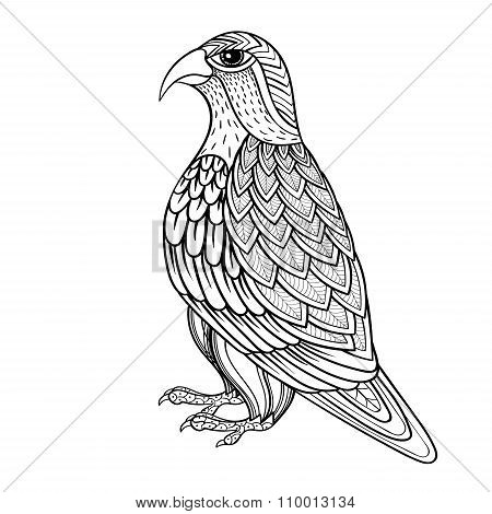Zentangle Vector Falcon, Bird Hawk Of Prey, Predatory For Adult Anti Stress Coloring Pages. Ornament