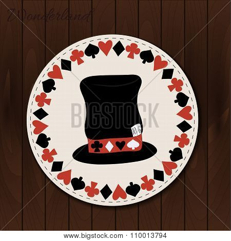 Hatter hat - drink coaster from Wonderland.