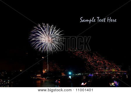 White Firework Over Chaophraya River Bangkok On Father's Day,bangkok Thailand With Space For Text
