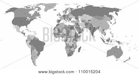 Vector world map with country labels