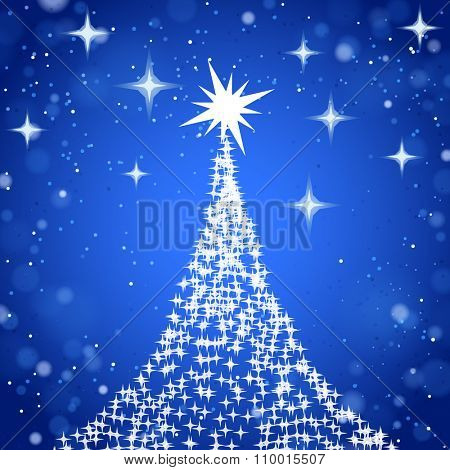 Christmas tree with stars on shine blue background