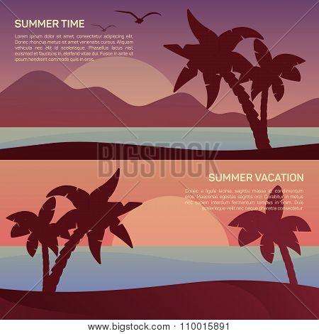 Vector illustration of landscape in tropics